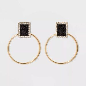 NWT Druzy Crystal Hoop Earrings